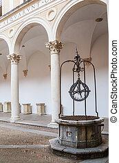 Marche, ducal, Budowany, pałac, Włochy, Da, Dziedziniec,...