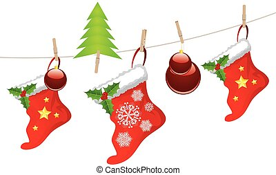 Christmas Stockings on Rope - Red Christmas stockings...