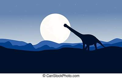 Scenery argentinosaurus on desert vector