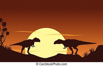 Silhouette of two mapusaurus landscape