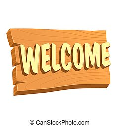 Welcome Wooden Sign Board - Vector stock of natural wooden...