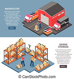 Logistics And Delivery Isometric Banners - Logistics and...