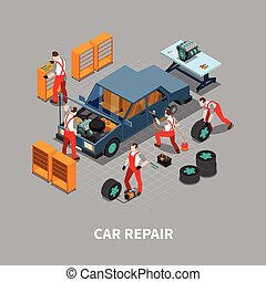Car Repair Auto Center Isometric Composition - Automobile...