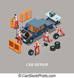 Car Repair Auto Center Isometric Composition