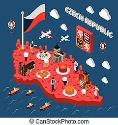 Chech Republic Touristic Attractions Isometric Map - Czech...