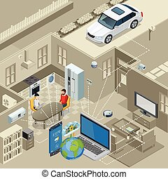 Internet Of Things Concept Isometric Poster - Internet of...