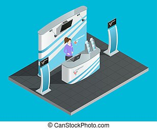 Exibition stand isometric with woman promoter vector...