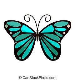 papillon, icône, clair,  Style, dessin animé