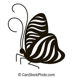 papillon, dépouillé, icône,  Style,  simple