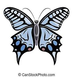 papillon, lumière, icône,  Style, dessin animé