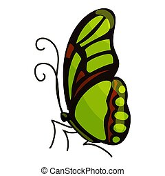 Green butterfly icon, cartoon style - Green butterfly icon....