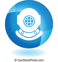 Diving Helmet web button isolated on a background