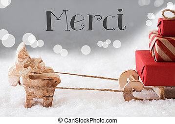 Reindeer With Sled, Silver Background, Merci Means Thank You...