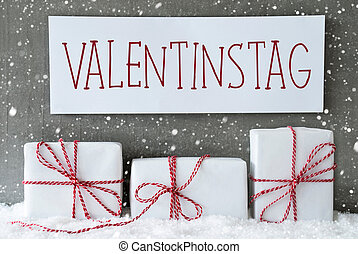 White Gift, Snowflakes, Valentinstag Means Valentines Day -...