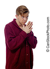young man dressed in a maroon sweater - image of a young man...