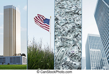 america mix - business theme photo collage composed of few...