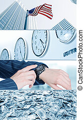 time is money - business theme photo collage composed of few...