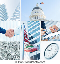 deal - business theme photo collage composed of few images