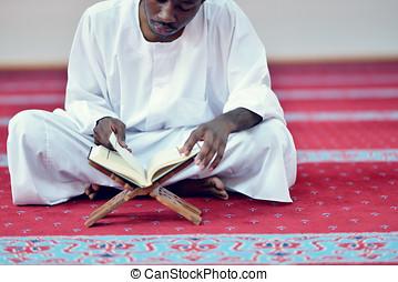 prier, Dieu, musulman, homme, africaine