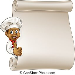 Cartoon Black Chef Menu Scroll - Cartoon black chef or baker...