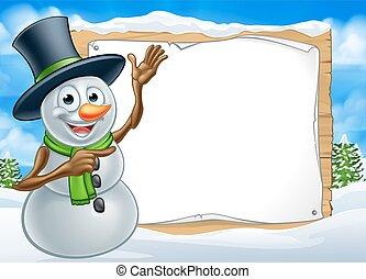 Snowman Cartoon Christmas Sign