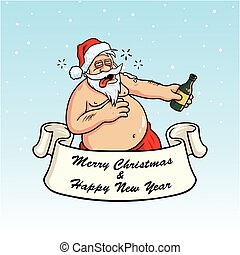 Drunk Santa Claus Drinking Booze. Christmas Greeting Card...