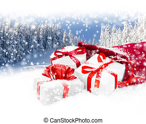 Santa Bag with Gifts - Photo of Santa Claus Bag and gifts...