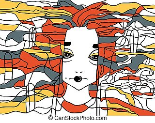 Vector decorative portrait of a woman. Creative artwork.