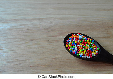 Colorful Sprinkle In Spoon