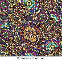 Paisley floral seamless pattern. Paisley colorful background...