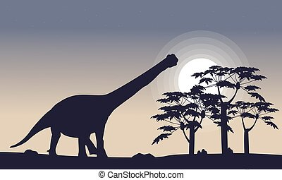 Siluetas,  TRE, paisaje,  argentinosaurus