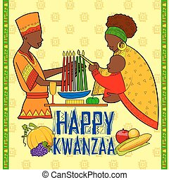Happy Kwanzaa greetings for celebration of African American...
