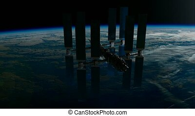 ISS. International Space Station Orbiting Earth. Elements of...