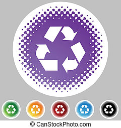 Recycling Symbol - Recycling symbol web button isolated on a...