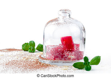 Turkish Delight in glass vase isolated