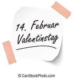Reminder February 14 Valentine's Day on paper - Reminder...