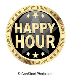 Button Happy Hour - colored button with banner and text...
