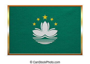 Flag of Macau , golden frame, fabric texture - Macanese...