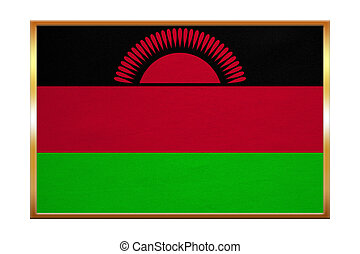 Flag of Malawi , golden frame, fabric texture - Malawian...