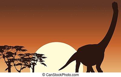 hermoso, paisaje, Siluetas,  argentinosaurus