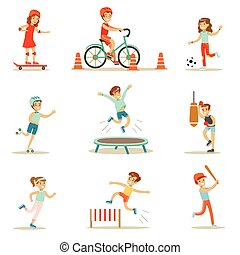 Kids Practicing Different Sports And Physical Activities In...