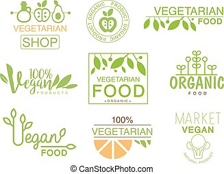 Vegan Natural Food Set Of Template Shop Logo Signs In Green...