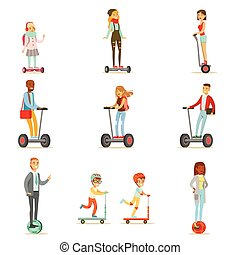 People Riding Electric Self-Balancing Battery Powered Personal Electric Scooters With One Or Two Wheels, Collection Of Cartoon Characters