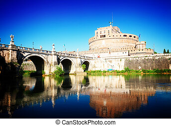 castle st. Angelo, Rome, Italy - castle saint Angelo and...