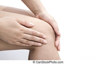 Woman having knee pain in medical office. osteoarthritis joint  after sport. Breaks and sprains of the