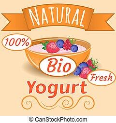 Natural bio fruits Yogurt Vector. Packaging Design