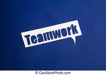 The word Teamwork in speech bubble