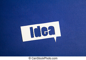 The word idea in speech bubble