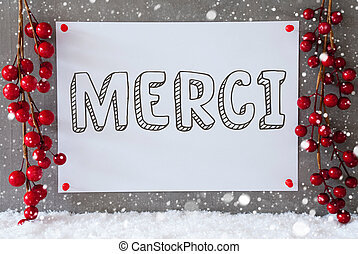 Label, Snowflakes, Christmas Decoration, Merci Means Thank...