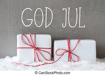 Two Gifts With Snow, God Jul Means Merry Christmas - Swedish...